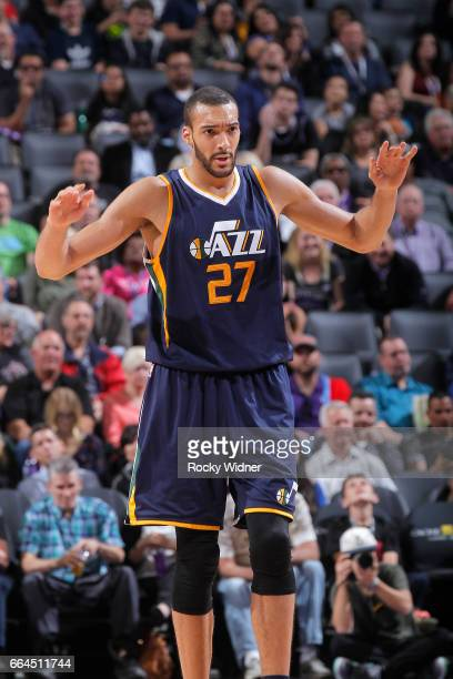 Rudy Gobert of the Utah Jazz reacts during the game against the Sacramento Kings on March 29 2017 at Golden 1 Center in Sacramento California NOTE TO...