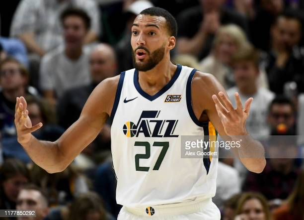 Rudy Gobert of the Utah Jazz reacts to a call during an opening night game against the Oklahoma City Thunder at Vivint Smart Home Arena on October 23...
