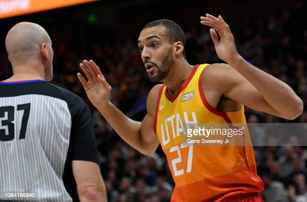 Rudy Gobert of the Utah Jazz reacts to a foul called by referee Eric Dalen in the first half of a NBA game against the Sacramento Kings at Vivint...
