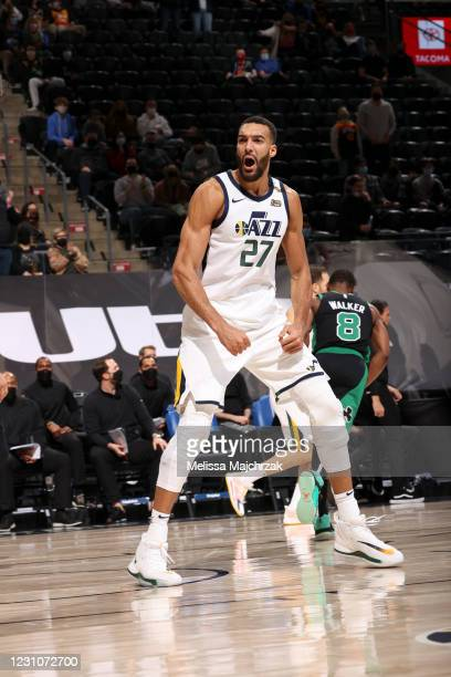 Rudy Gobert of the Utah Jazz reacts to a play during the game against the Boston Celtics on February 9, 2021 at vivint.SmartHome Arena in Salt Lake...