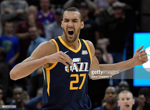 Rudy Gobert of the Utah Jazz reacts to a second half foul during their 112103 win over the Portland Trail Blazers at Vivint Smart Home Arena on...