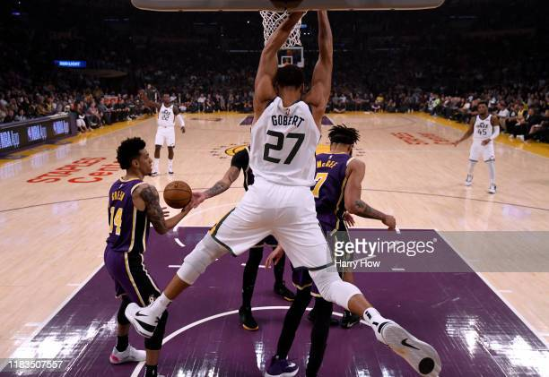 Rudy Gobert of the Utah Jazz reacts to his dunk during a 9586 loss to the Los Angeles Lakers at Staples Center on October 25 2019 in Los Angeles...