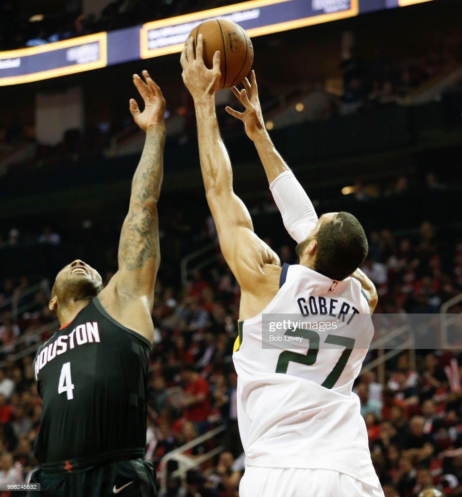 Houston Rockets Vs Utah Jazz: Rudy Gobert Of The Utah Jazz Rebounds The Ball Against PJ