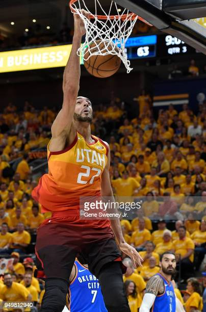 Rudy Gobert of the Utah Jazz scores a basket in the second half during Game Three of Round One of the 2018 NBA Playoffs against the Oklahoma City...