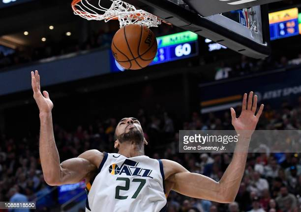 Rudy Gobert of the Utah Jazz scores in the second half of a NBA game against the Minnesota Timberwolves at Vivint Smart Home Arena on January 25 2019...