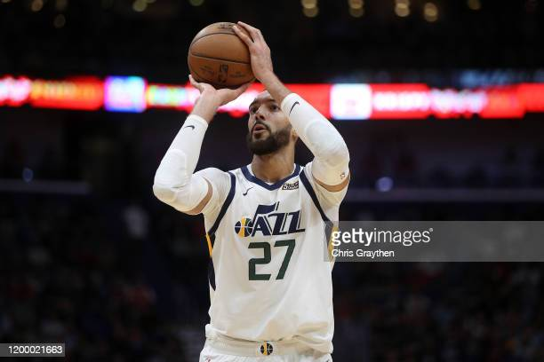 Rudy Gobert of the Utah Jazz shoots a free throw against the New Orleans Pelicans at Smoothie King Center on January 16 2020 in New Orleans Louisiana...