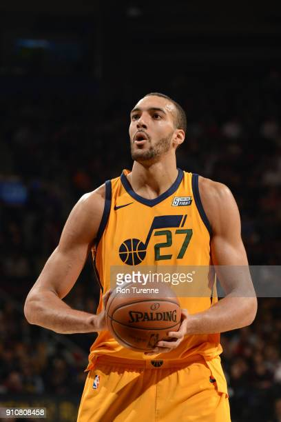 Rudy Gobert of the Utah Jazz shoots a free throw against the Toronto Raptors on January 26 2018 at the Air Canada Centre in Toronto Ontario Canada...