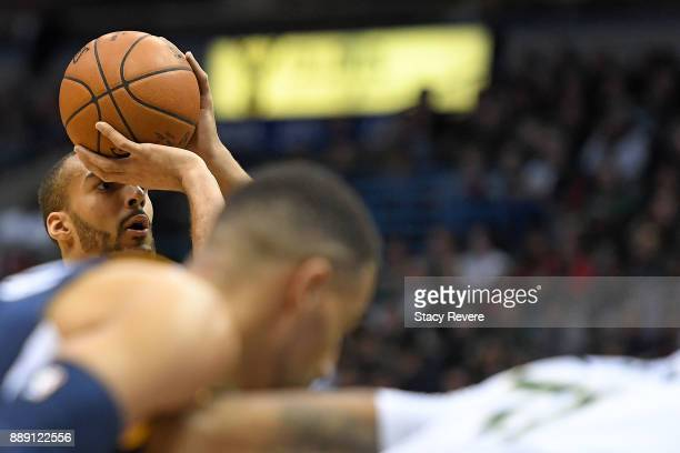 Rudy Gobert of the Utah Jazz shoots a free throw during the first half of a game against the Milwaukee Bucks at the Bradley Center on December 9 2017...