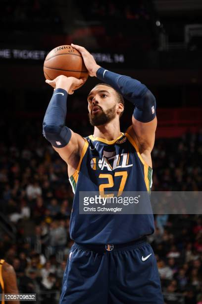 Rudy Gobert of the Utah Jazz shoots a free throw during the game against the Detroit Pistons on March 7 2020 at Little Caesars Arena in Detroit...