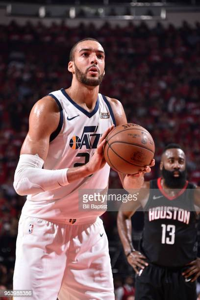 Rudy Gobert of the Utah Jazz shoots a free throw during the game against the Houston Rockets in Game Two of Round Two of the 2018 NBA Playoffs on May...