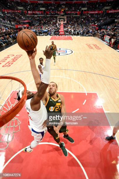 Rudy Gobert of the Utah Jazz shoots the ball against the LA Clippers on January 16 2019 at STAPLES Center in Los Angeles California NOTE TO USER User...