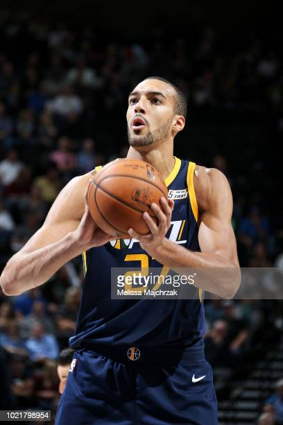 Rudy Gobert of the Utah Jazz shoots the ball against the Dallas Mavericks on October 30 2017 at Vivint Smart Home Arena in Salt Lake City Utah NOTE...