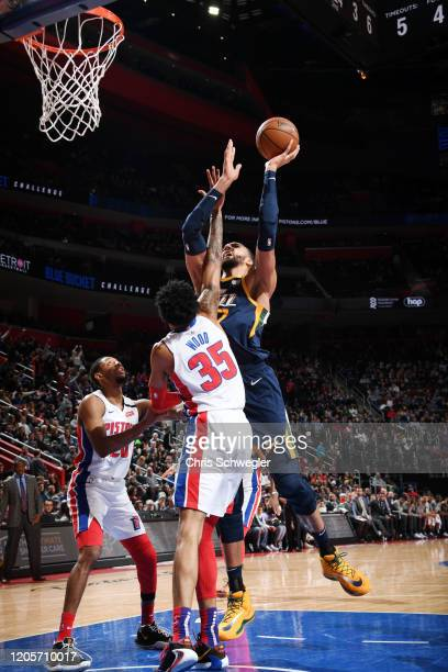 Rudy Gobert of the Utah Jazz shoots the ball against the Detroit Pistons on March 7 2020 at Little Caesars Arena in Detroit Michigan NOTE TO USER...