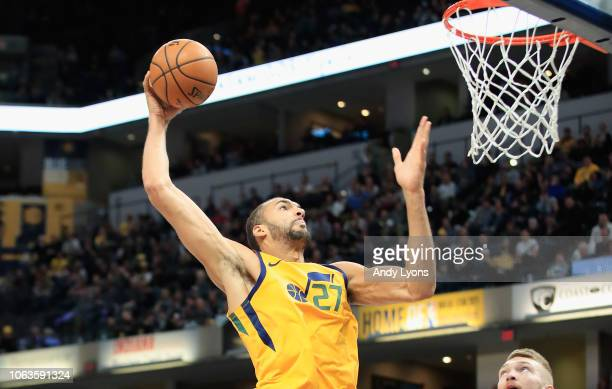 Rudy Gobert of the Utah Jazz shoots the ball against the Indiana Pacers at Bankers Life Fieldhouse on November 19 2018 in Indianapolis Indiana NOTE...