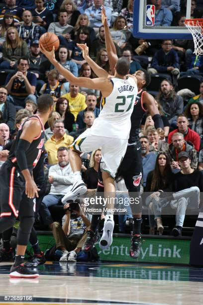 Rudy Gobert of the Utah Jazz shoots the ball against the Miami Heat on November 10 2017 at Vivint Smart Home Arena in Salt Lake City Utah NOTE TO...
