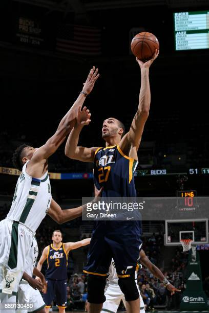 Rudy Gobert of the Utah Jazz shoots the ball against the Milwaukee Bucks on December 9 2017 at the BMO Harris Bradley Center in Milwaukee Wisconsin...
