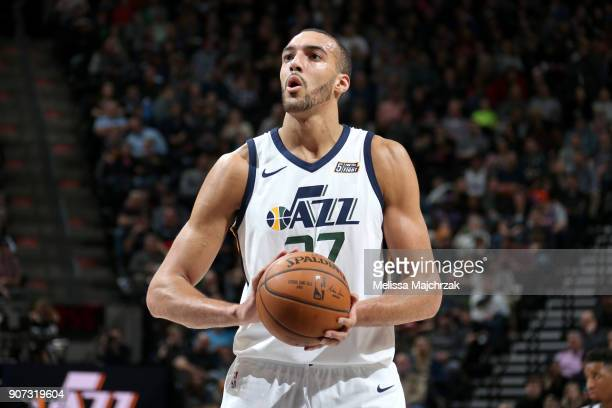 Rudy Gobert of the Utah Jazz shoots the ball against the New York Knicks on January 19 2018 at vivintSmartHome Arena in Salt Lake City Utah NOTE TO...