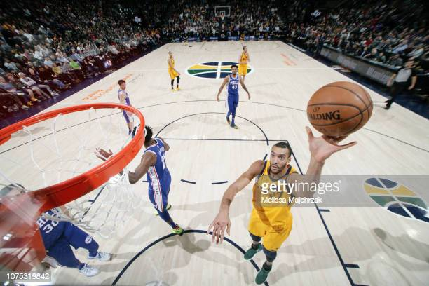 Rudy Gobert of the Utah Jazz shoots the ball against the Philadelphia 76ers on December 27 2018 at vivintSmartHome Arena in Salt Lake City Utah NOTE...