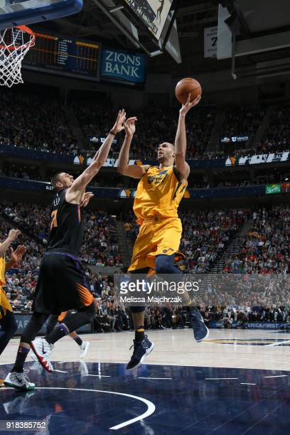 Rudy Gobert of the Utah Jazz shoots the ball against the Phoenix Suns on February 14 2018 at Vivint Smart Home Arena in Salt Lake City Utah NOTE TO...