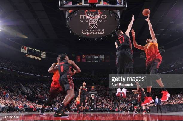 Rudy Gobert of the Utah Jazz shoots the ball against the Portland Trail Blazers on February 11 2018 at the Moda Center in Portland Oregon NOTE TO...