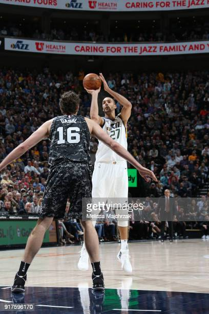 Rudy Gobert of the Utah Jazz shoots the ball against the San Antonio Spurs on February 12 2018 at vivintSmartHome Arena in Salt Lake City Utah NOTE...
