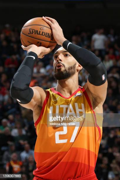 Rudy Gobert of the Utah Jazz shoots the ball against the Toronto Raptors on March 9 2020 at vivintSmartHome Arena in Salt Lake City Utah NOTE TO USER...