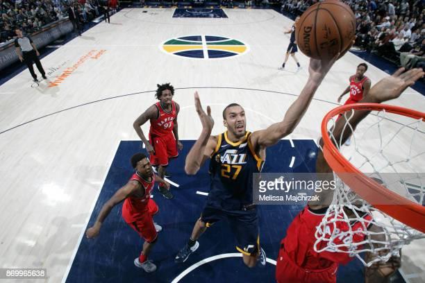 Rudy Gobert of the Utah Jazz shoots the ball against the Toronto Raptors on November 3 2017 at Vivint Smart Home Arena in Salt Lake City Utah NOTE TO...