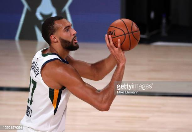 Rudy Gobert of the Utah Jazz shoots the ball during the third quarter against the Denver Nuggets in Game Seven of the Western Conference First Round...