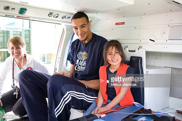 Rudy Gobert of the Utah Jazz sits in a helicopter at the Jackson Elementary field trip to Discovery Gateway Children's Museum on October 23 2014 in...