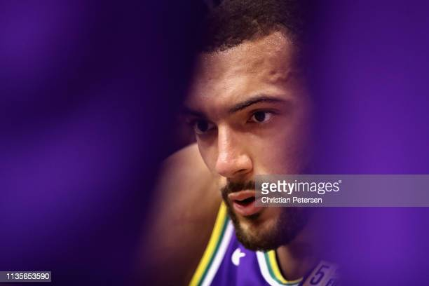 Rudy Gobert of the Utah Jazz sits on the bench during a timeout against the Phoenix Suns the first half of the NBA game at Talking Stick Resort Arena...