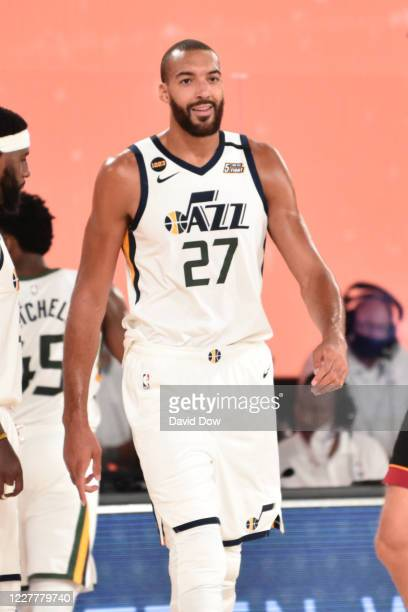 Rudy Gobert of the Utah Jazz smiles during a scrimmage against the Miami Heat on July 25, 2020 at HP Field House at ESPN Wide World of Sports in...