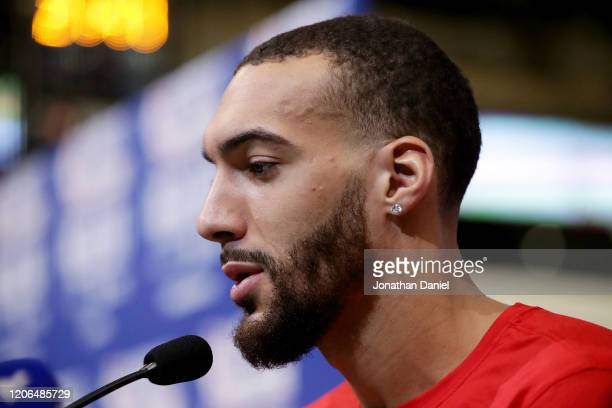 Rudy Gobert of the Utah Jazz speaks to the media during 2020 NBA AllStar Practice Media Day at Wintrust Arena on February 15 2020 in Chicago Illinois...