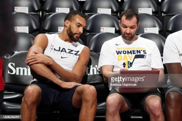 Rudy Gobert of the Utah Jazz studies film before the game against the Toronto Raptors on March 9 2020 at vivintSmartHome Arena in Salt Lake City Utah...