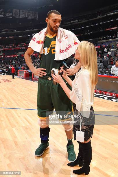 Rudy Gobert of the Utah Jazz talks with the media after the game against the LA Clippers on January 16 2019 at STAPLES Center in Los Angeles...