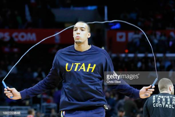 Rudy Gobert of the Utah Jazz warms up before the game against the LA Clippers on November 25 2015 at the STAPLES Center in Los Angeles California...