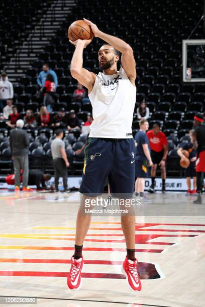 Rudy Gobert of the Utah Jazz warms up before the game against the Toronto Raptors on March 9 2020 at vivintSmartHome Arena in Salt Lake City Utah...