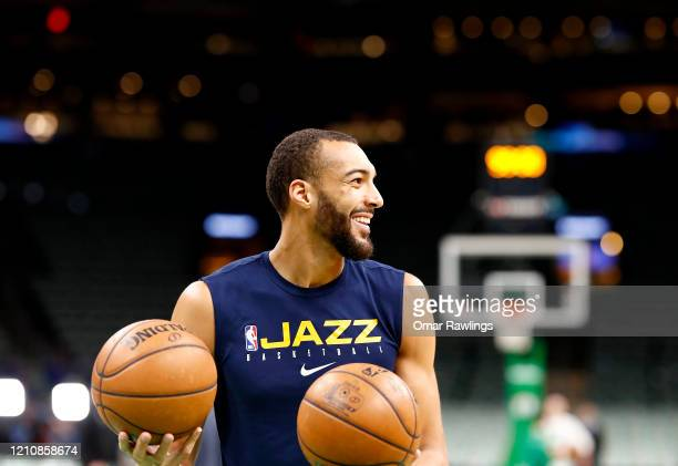 Rudy Gobert of the Utah Jazz warms up before the game against the Boston Celtics at TD Garden on March 06 2020 in Boston Massachusetts NOTE TO USER...