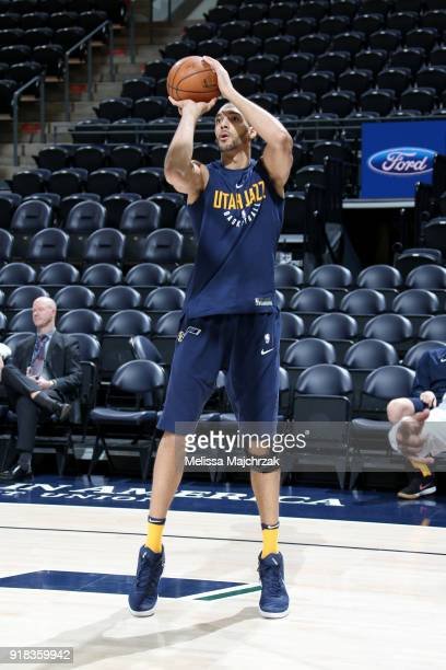 Rudy Gobert of the Utah Jazz warms up before the game against the Phoenix Suns on February 14 2018 at Vivint Smart Home Arena in Salt Lake City Utah...