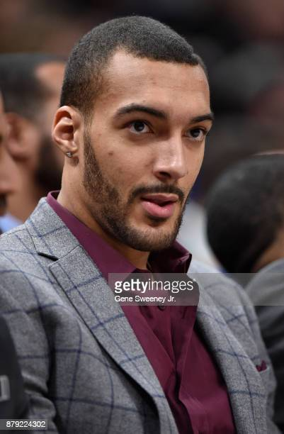 Rudy Gobert of the Utah Jazz who is sidelined with an injury looks on from the bench in the second half against the Milwaukee Bucks at Vivint Smart...