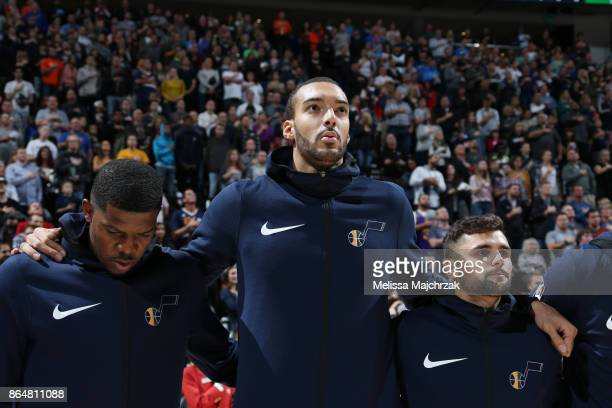 Rudy Gobert of the Utah Jazz with his teammates stand for the National Anthem before the game against the Oklahoma City Thunder on October 21 2017 at...