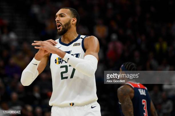 Rudy Gobert of the Utah Jazz yells to the bench during a game against the Washington Wizards at Vivint Smart Home Arena on February 28 2020 in Salt...