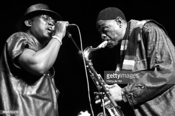 Rudy Gomis left and Issa Cissokho of Orchestra Baobab performing at Skirball Center on Friday night April 23 2004