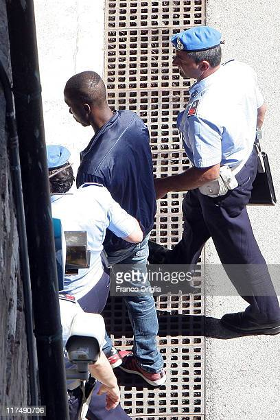 Rudy Guede arrives at Perugia's court of Appeal during the appeal hearing of Amanda Knox over the guilty verdict in the murder of Meredith Kercher on...