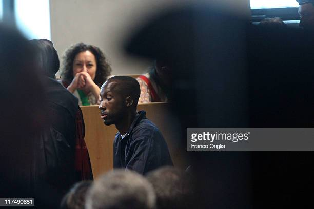 Rudy Guede testifies during the appeal hearing of Amanda Knox over the guilty verdict in the murder of Meredith Kercher in Perugia's court of Appeal...