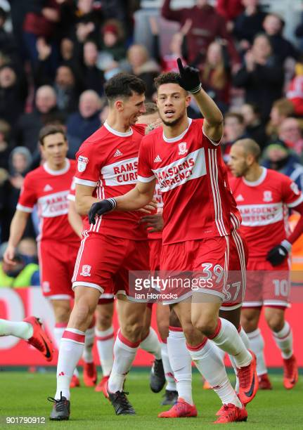 Rudy Gusted of Boro celebrates after he opens the scoring during the FA cup third round match between Middlesbrough FC and Sunderland AFC at...
