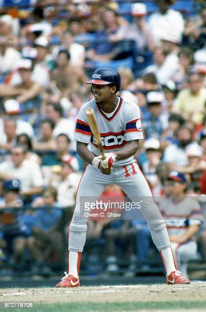 Rudy Law of the Chicago White Sox bats against the Baltimore Orioles at Memorial Stadium circa 1983 in BaltimoreMaryland
