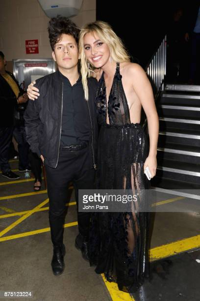 Rudy Mancuso and Lele Pons pose backstage during The 18th Annual Latin Grammy Awards at MGM Grand Garden Arena on November 16 2017 in Las Vegas Nevada