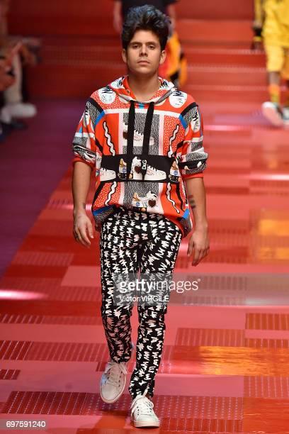 Rudy Mancuso walks the runway at the Dolce Gabbana show during Milan Men's Fashion Week Spring/Summer 2018 on June 17 2017 in Milan Italy