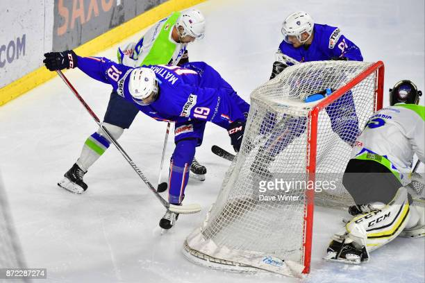 Rudy Matima of France during the EIHF Ice Hockey Four Nations tournament match between France and Slovenia on November 9 2017 in Cergy France