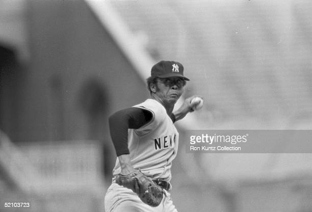 Rudy May of the New York Yankees delivers a pitch during a game against the Cleveland Indians on September 20 1975 at Municipal Stadium in Cleveland...